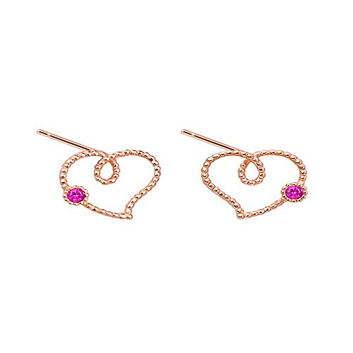 WANGLETA Ohrstecker Ohrhänger Geschenkidee für Frauen 925 reine Silber licht Luxus 14k Gold Line liebe Ohr Schrauben vorsichtig bohren Ohrringe einfügen Pfirsich Herz Ohren -