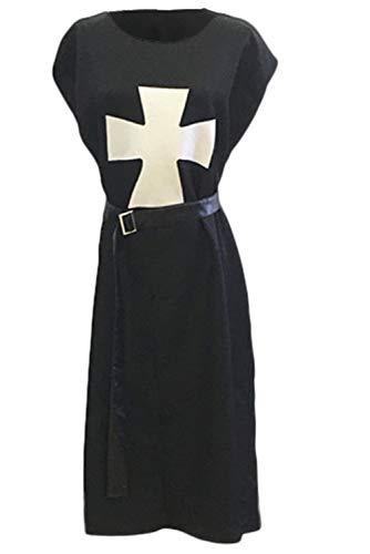 Herren Vintage Retro Cloak Mittelalter Gothic Krieger Mantel Templer-Ritter Umhang Renaissance Cape Cosplay Kostüm L