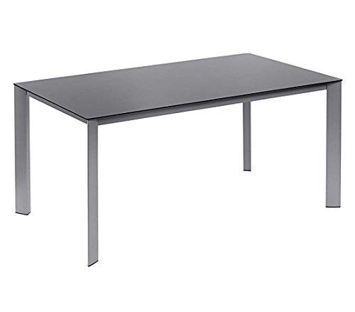 Dehner Gartentisch Macon, ca. 160 x 90 x 75 cm, Glas/Aluminium, schwarz/Silber