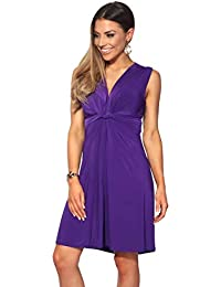 697b006b4e98 KRISP® Women Knot Front Dress Ruched Flattering Stretch Spring Dresses