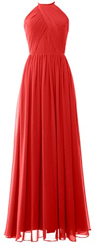 MACLoth Women Halter Long Bridesmaid Dress Chiffon Formal Gown with Open Back Rot