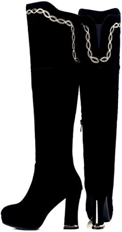 HBDLH Scarpe da Donna Knight stivali Tacco Alto di di di 10Cm Camoscio Ricami Impermeabile Piattaforma Spessa Tallone...   Ogni articolo descritto è disponibile  d53f18