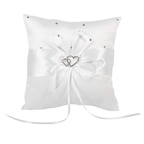 Braut Hochzeits Ringkissen Taschen Kissen Träger Mit Doppelten Herzen Dekoration, Elfenbein-Weiß / Rot / Blau / Lila 20cm × 20cm ( Farbe : Weiß )