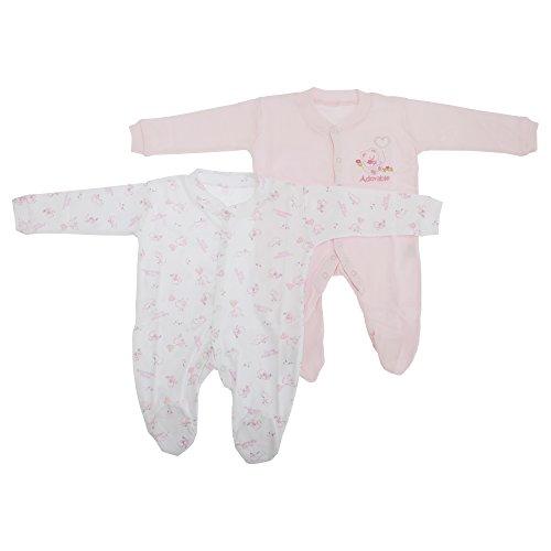 Baby Schlafanzug, Langarm mit Muster (2-er Pack) (74-80cm ;10.5kg) (Pink)