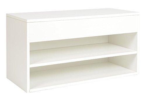 ts-ideen Schuhregal Schuhschrank Bad Flur Diele Standregal Weiss Sitzbank 43 x 80 cm