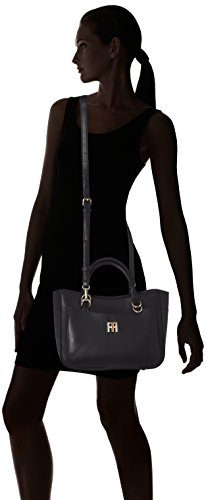 Tommy Hilfiger Th Twist Leather Tote, Cartables Noir (Black)