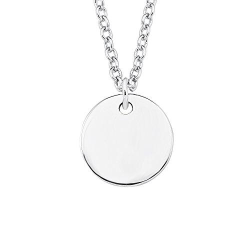 s.Oliver Damen-Kette 45 cm So Pure mit rundem Kreis Münze Anhänger gravurfähig 925 Silber