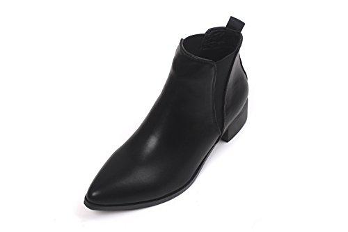 Honeystore Damen's Lederstiefel Flache Boots Klassischer Kurzschaft Stiefeletten Flache Schuhe Sneakers Freizeitschuhe Schwarz 36 EU (Boots Womens Flach High)
