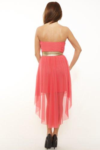 43042f69832c ... Sexy Vokuhila Kleid Partykleid, Abendkleid, Cocktailkleid aus Feintüll,  verschiedene Farben Koralle