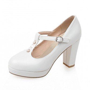 Talons pour femmes Spring Fall Comfort Leatherette Bureau et carrière Robe de soirée et soirée Chunky Heel Boucle de strass Rose Blanc Beige White