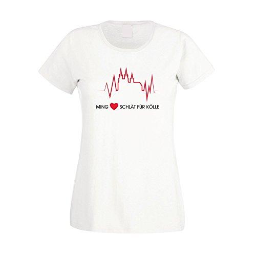 Ming Hätz schlät für Kölle - Damen T-Shirt - von SHIRT DEPARTMENT, weiss-rot, XL (Tee Print Verziert)