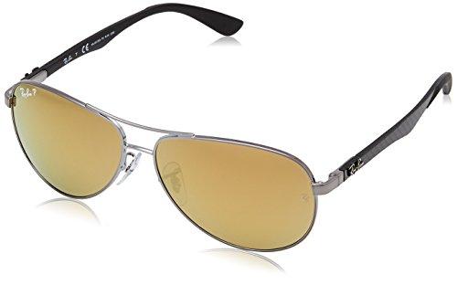 Ray Ban Unisex Sonnenbrille, RB8313 004/N3 58, Gr: 58, Mehrfarbig (Gestell: gunmetal, Gläser: Silber polarisiert Verspiegelt 004/K6)