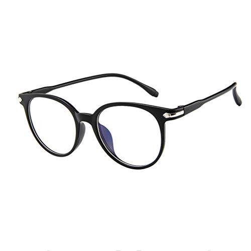 REALIKE Unisex Brille Elegant Flacher Spiegel Runder Rahmen Brillengestell Brille Anti-Blaulichtbrille, Retro-Brillengestell Aus, (Farbe : Blau, Schwarz, Lila, Rosa, Weiß)