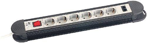 revolt Steckleiste: 6-fach Profi-Steckdosenleiste mit 2 LAN-Anschlüssen und Netzwerkschutz (Steckerleiste Überspannungsschutz)