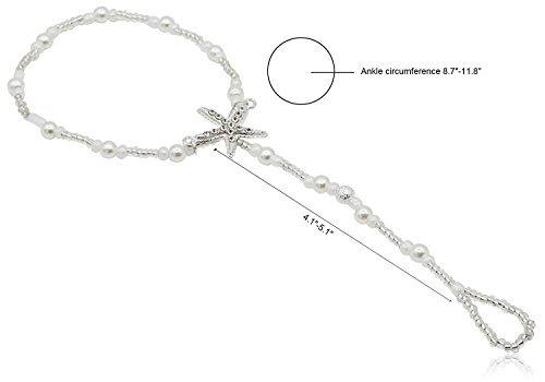 Cavigliera shell bracciale a catena alla caviglia mare in argento a piedi nudi gioielli spiaggia (c)