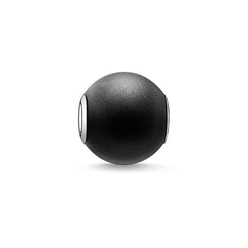 Thomas Sabo Damen Herren-Bead Obsidian mattiert Karma Beads 925 Sterling Silber schwarz K0001-023-11