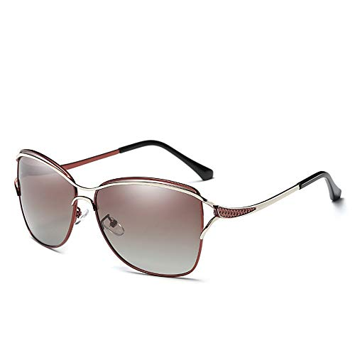 Easy Go Shopping Womens Frame Brillen Mode Sonnenbrillen Outdoor polarisierten Sonnenbrillen Sonnenbrillen und Flacher Spiegel (Color : Schwarz, Size : Kostenlos)