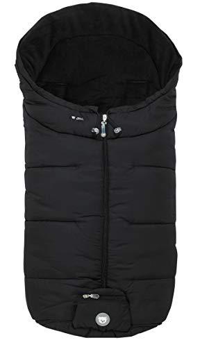 ALVI Mikrofaser Winter Fußsack für Kinderwagen & Buggy | Anti-Rutschschutz durch Noppen | weicher & warmer Webpelz | Reflektorstreifen | atmungsaktiv & wasserabweisend, Design:schwarz