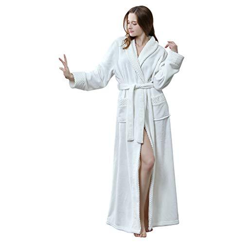 Deloito Damen Herren Paare Morgenmantel Schlafanzug Winter Warme Bademantel Pyjamas Verdickung Velvet Sleepwear Fleece-Robe Nachtwäsche Lange Nachthemd (Weiß-A,Medium)