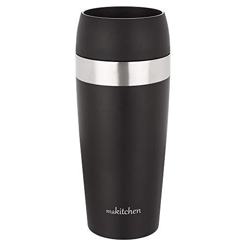 makitchen Thermobecher spülmaschinenfest 420ml schwarz   Kaffeebecher für Coffee to go 100{7c9a1c0485dca18a5e991150a5d3b300547cddb2ec25bd108c074d7d2860c80a} auslaufsicher   Edelstahl Trinkbecher mit Deckel   Isolierbecher doppelwandig Vakuum-isoliert   Travel-Mug
