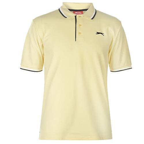 Slazenger Tipped Herren Polo Poloshirt T Shirt Kurzarm Classic Fit Tee Hell Gelb M
