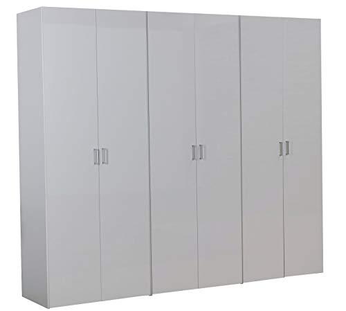 Dynamic24 6 türiger Kleiderschrank Schlafzimmer Schrank Drehtürenschrank Hochglanz weiß