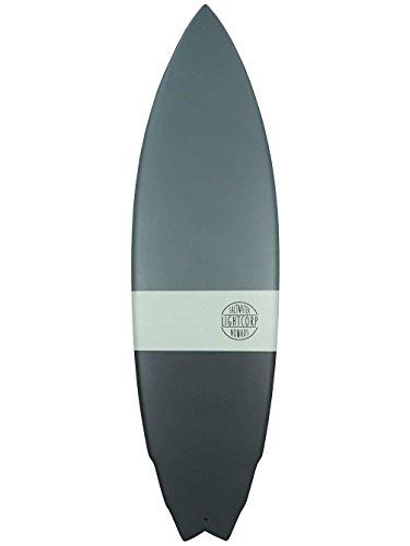 "Light Truvalli Fish 3 Tone Epoxy-Future Surfboard, Dark Grey/Turquoises/Grey, 6\'4\"""