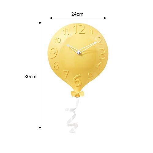 Reloj Globo Reloj Reloj De Pared Montado En La Pared Moderno Europeo Minimalista Personalidad Creativa Moda Sala De Estar Dormitorio Pared Reloj Mudo Amarillo Claro