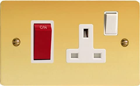 Varilight - 45A Cooker Panel (with 13A Switched Socket) Ultra Flat Polished Brass - XFV45PW