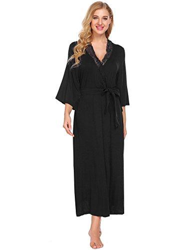 Tomasa Damen Weiche Nachtwäsche Morgenmantel Spitze mit Gürtel Modal Cotton Wrap Robe Lang (Robe Spitze Lange)