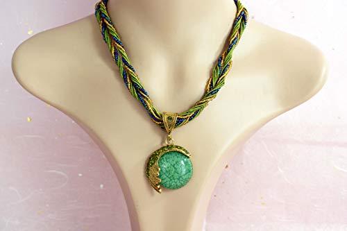 Signore-Signori® Handmade Antique VERDE Retro Sueño Blue Moon Collar, Bisutería Vintage Disponible en tres colores - verde, crema y turquesa/regalo perfecto