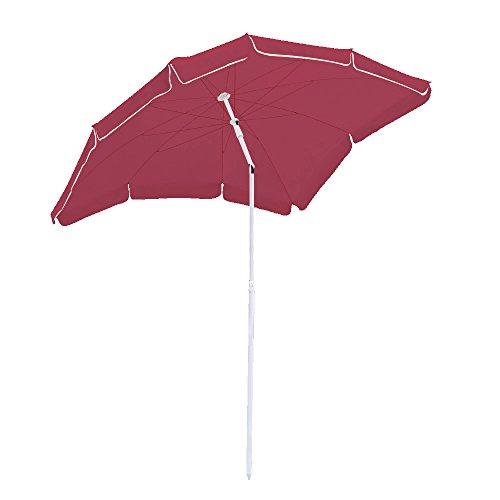 Hengda® Für Garten, Terrasse, Loggia, Balkon, Camping-Platz, Pool, Planschbecken 1.8*1.2m Rot Sonnenschirm Garten Schirm Marktschirm Ampelschirm Kurbel Schirm