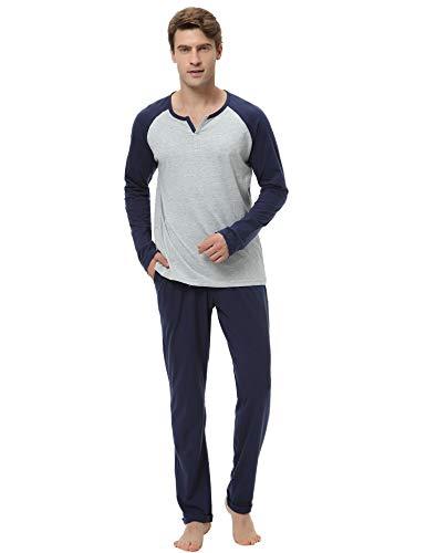 Hawiton Herren Pyjama-Hosen EIN 100% Baumwolle Langarm nachtwäsche Lounge X-Large Grau -