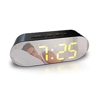Digital Alarm Clock - Mains Powered, No Frills Simple Operation Alarm Clocks, Bedside Alarm, Snooze, Non Ticking, Full Range Brightness Dimmer, Big Digit Mirror Display, Two USB Charging Ports (Black)
