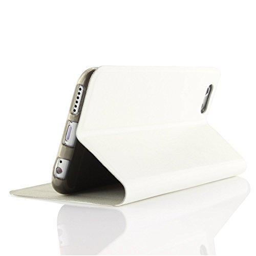 Original UrCover® Schutz Hülle für das Apple iPhone 6 / 6S Classic Edition Edel Case Cover Schale Flip Tasche Braun Weiss