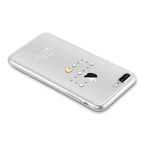 Cover iPhone 8 Plus Cover iPhone 7 Plus, JAMMYLIZARD [Sketch] Custodia in Silicone Trasparente Semi Morbido Ultra Slim con Disegno per Apple iPhone 8 Plus e Apple iPhone 7 Plus, CARTOON 7 PAC-MAN