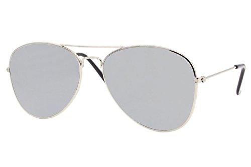 Cheapass Piloten-Sonnenbrille Silber-n Verspiegelt UV-400 Exklusive Flieger-Brille Metall Damen Herren
