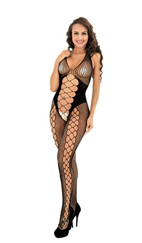HJHJJ Womens Sexy Dessous Bodysuits Open Crotch Fishnet Mesh Bodystrümpfe Suspender Schwarz, Weiß,Black - Black Fishnet Suspender
