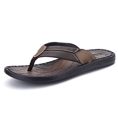 Slippers & amp da uomo; Comfort PU primavera-estate casuale sandali piani del tallone perline marrone nero sandali US7 / EU39 / UK6 / CN39