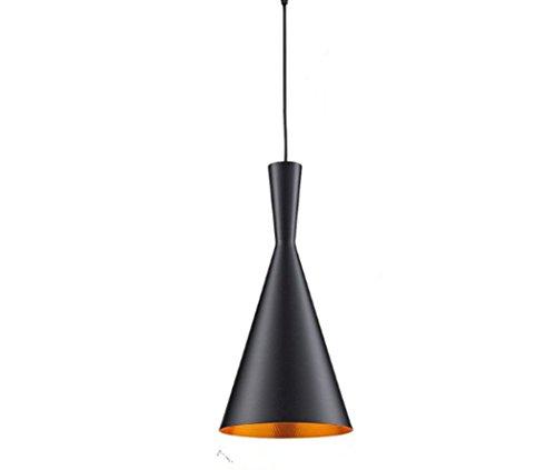 Iluminación industrial metal, lámpara colgante de diseño retro vintage con pantalla, lámpara de techo para loft, café , bar, cocina 1 x E27 máximo 60W (exterior negro, interior dorado).