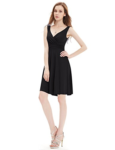 Ever Pretty Robe d'ete courte casual en V-col 05294 Noir