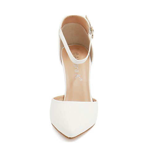 Allegra K Women's Pointed Toe Stiletto Heel Ankle Strap Pumps (Size US 9.5) White