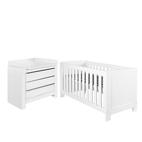 Felix Babyzimmer Wickelkommode Babybett Kleiderschrank Weiß oder Akaziengrau (Weiß, Bett, Wickelkommode)