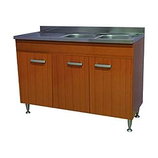 31TUyXtEMbL. SS324  - Arredobagnoecucine Mueble Cocina Teca 3 Puertas con Fregadero Inoxidable Derecho 120 modulable bajo Fregadero