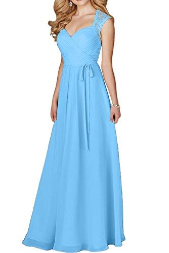 Promgirl House Damen Elegant Chiffon Spitze A-Linie Herz-Ausschnitt  Cocktail Brautmutterkleid Partykleider Abendkleider