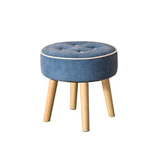 Bouton Rond Petit Tabouret Pouf Simple Tabouret De Maquillage Changement Banc De Chaussures Pieds En Bois Massif Stands Mobilier D'intérieur (Couleur : Bleu)