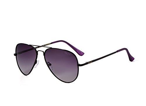 Miuno® Sonnenbrille Polarisiert Polarized Herren Damen Geschenkbox & Brillentuch Federscharnier 3025 Schwarz (Lila)