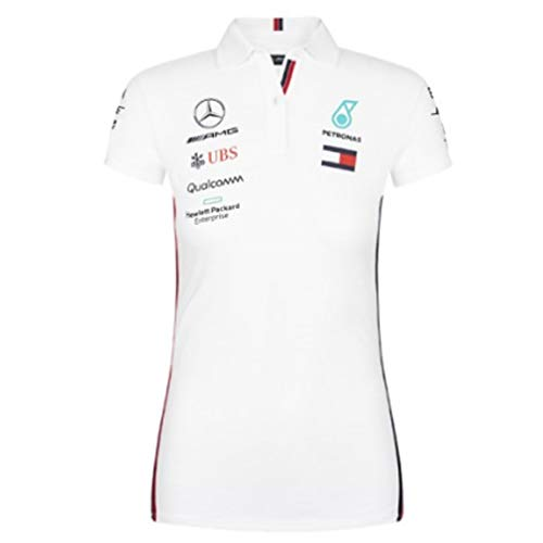 Official Formula One Merchandise   Damen   Offizielle Mercedes-AMG Petronas Motorsport 2019 F1TM   Team Poloshirt   Weiß   Baumwolle und Elestan   Größe: S -