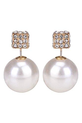 Pendientes de perlas falsas - TOOGOO(R)Pendientes cuadrados de perlas falsas de diamantes de imitacion de lados dobles de moda joyeria elegante para mujer blanco iluminado