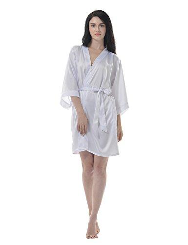 Remedios Femme Satin Soyeux Peignoir Court Kimono Robe de chambre Nuisettes Blanc